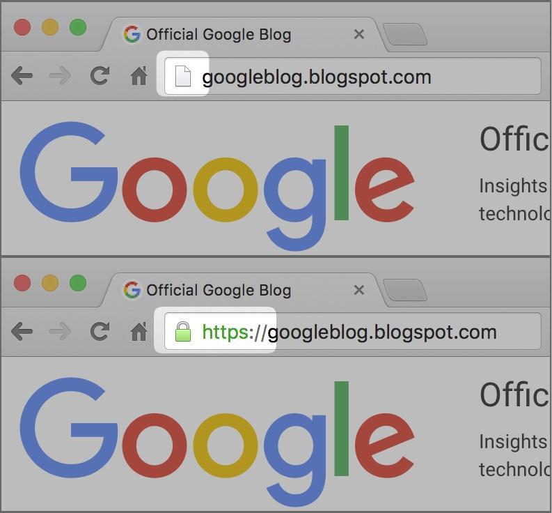Пример отображения сайта в Google Chrome без SSL-сертификата (сверху) и с ним (снизу)