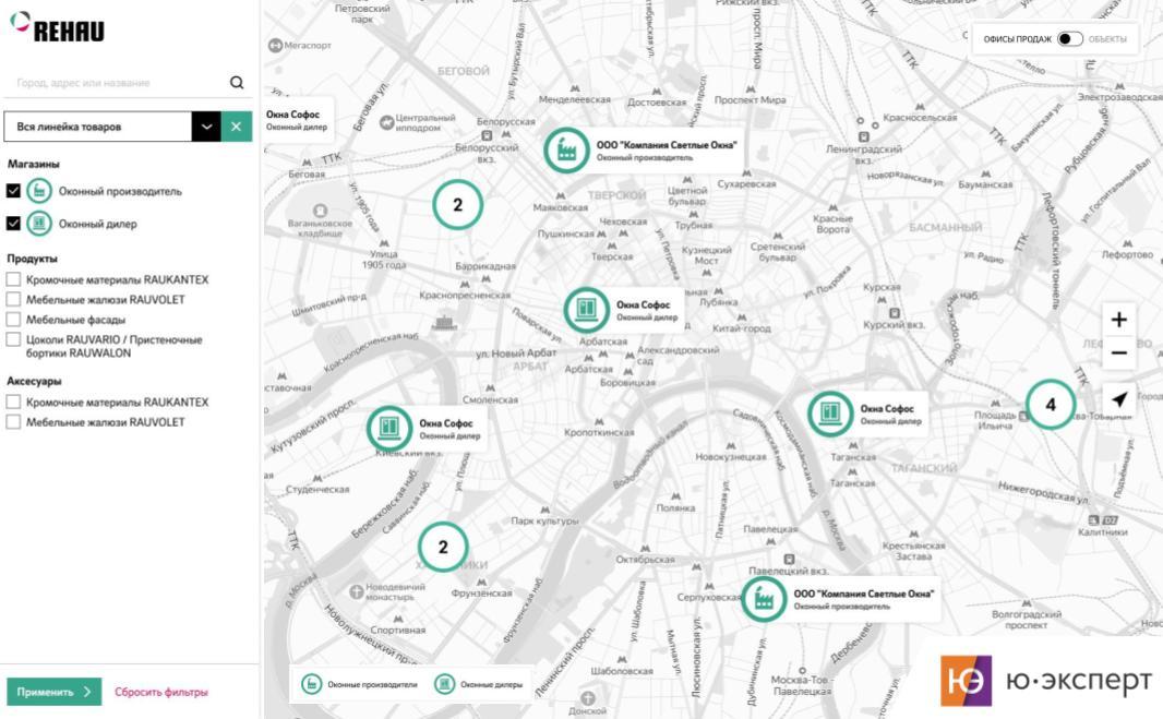 Завершен первый этап разработки карты дилеров для компании Рехау